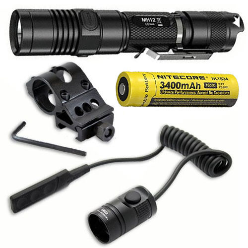 Combo: Nitecore MH12GT Flashlight w/Offset Gun Mount & Pressure RSW1 Pressure & Switch 8ef589