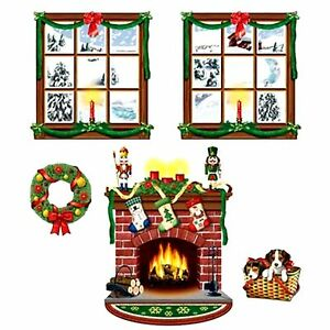 5pc Fireplace Wreath Wall Mural Holiday Christmas Scene