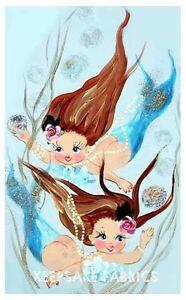 Mermaid-Sisters-Fantasy-Blue-Fabric-Block-Multi-Sizes
