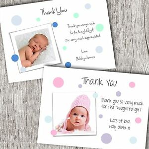 Personalised Photo Thank You Cards Announcement Christening Baby