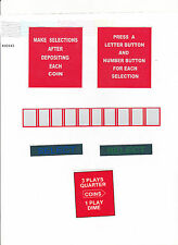 JUKEBOX 6 SEEBURG A B C  M100A M100B INSTRUCTION COIN SELECT DECAL SET PLASTICS