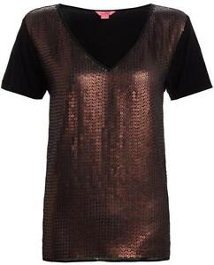 New-MONSOON-Black-Short-Sleeve-Party-Top-Size-8-16-Copper-SEQUIN
