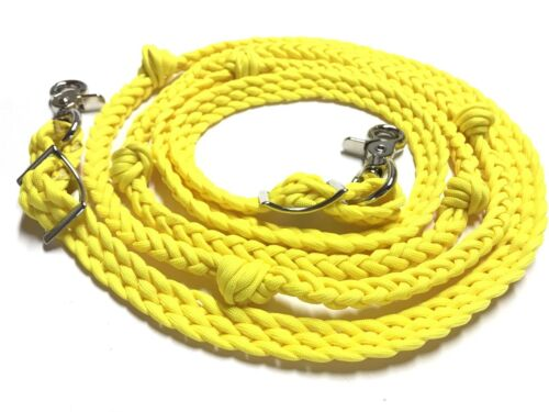western roping barrel reins braided Neon Yellow paracord horse tack grip knots