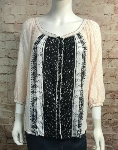 Free People Blouse Small Boho Peasant 3/4 Sleeve
