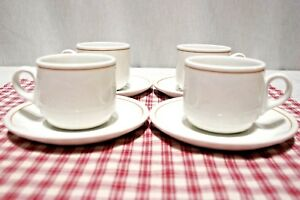 LOT-4-Royal-Doulton-Steelite-Restaurant-Ware-Tea-Cup-amp-Saucer-SETS-tan-line-SLE3