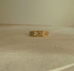 14k Gold plated Boys Two 2mm Cubic zirconia ring Lifeti