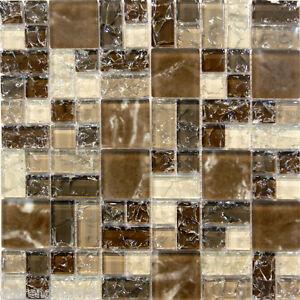 Natural brown crackle pattern glass mosaic tile sample kitchen backsplash wall ebay