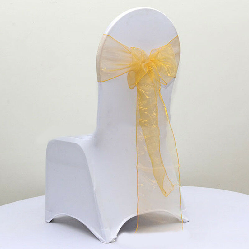 Gold organza chair sashes chair ties bows Chair ribbon wedding anniversary decor