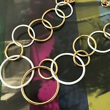 Kate Spade Gold White Multi Circle Chain Of Events Long Necklace WBRUC332 NWT