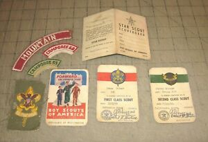 1950's BOY SCOUT Membership Registration Cards, Patches and BSA Record Fold-Out