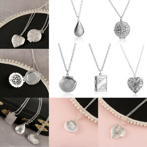 Heart-Drop-Shell-Openable-Chain-Picture-Locket-Necklaces-Photo-Frames-Pendant