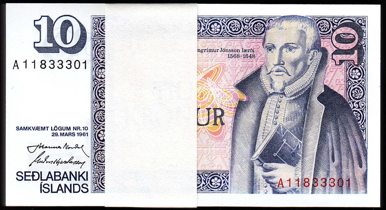 P-48 UNC 1961 Europe Paper Money Iceland 10 Kronur Banknote