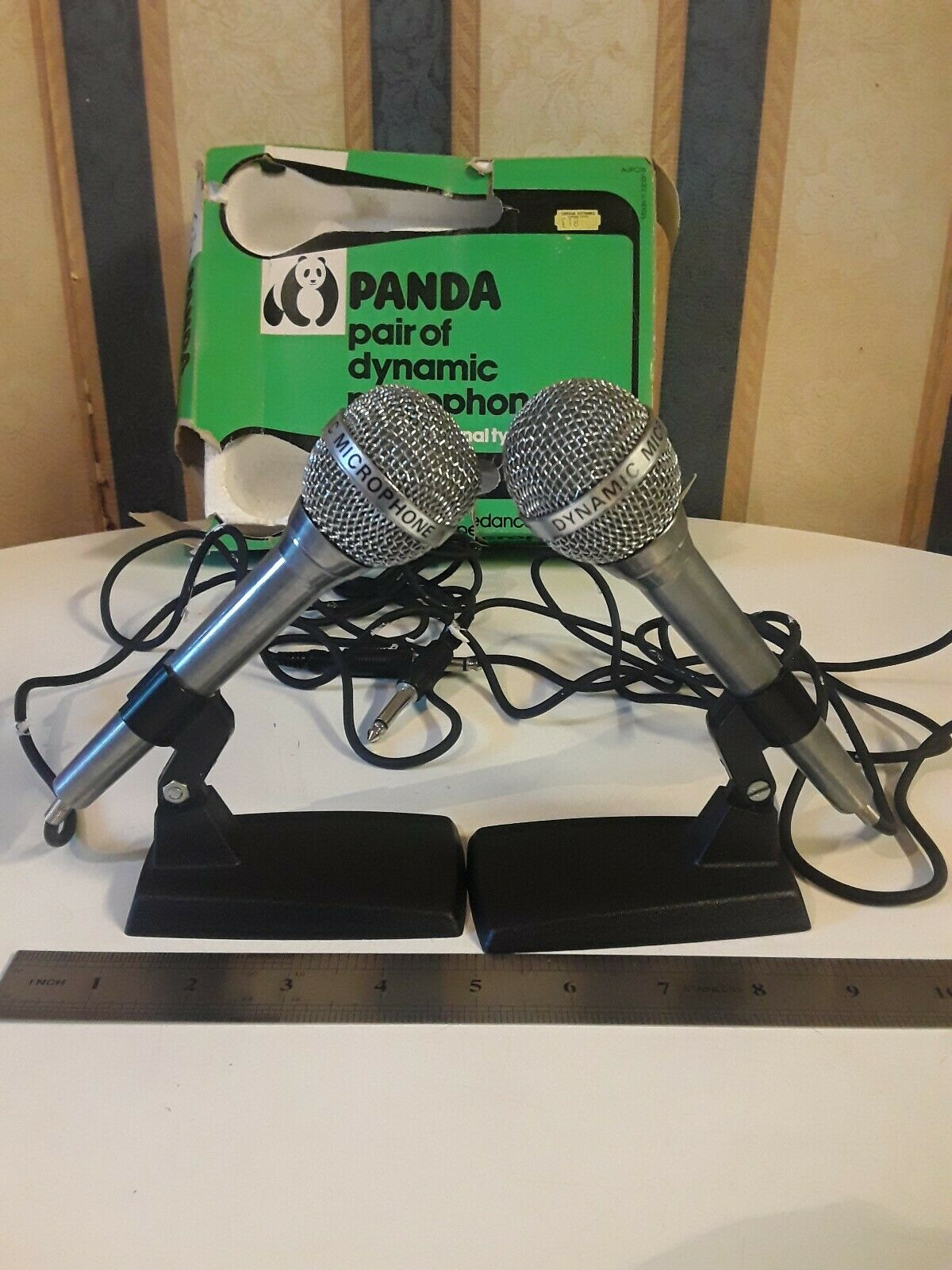 Pair Of Dynamic Microphones 600 Ohms Omni Directional Panda Japan Vintage