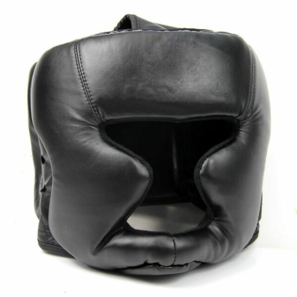 Black Good Headgear Head Guard Training Helmet Kick Boxing Protection Gear V jki