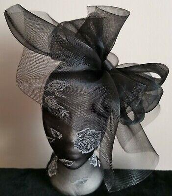 black crin fascinator headband headpiece wedding party piece race ascot funeral