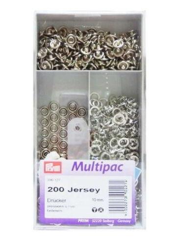 10 mm 200 unités 390127 Multipack Prym Boutons-pression JERSEY bague argent-en couleur