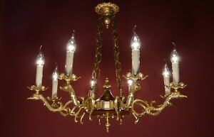 LARGE-GOLD-SWAN-ARM-CHANDELIER-BRASS-VINTAGE-OLD-CEILING-LAMP-ANCIENT