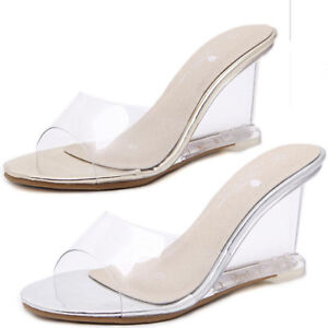 a80e4e6950f Details about Ladies Women Peep Toe High Heel Wedge Clear Slides Mules  Sandals Slip on Shoes