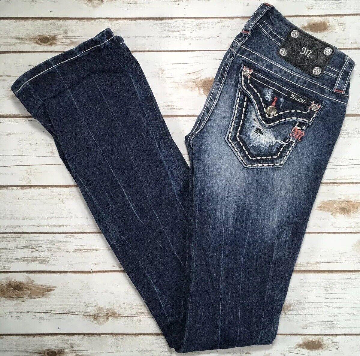 Womens Miss Me Jeans Low Rise Blowout Flap Bootcut Stretch 25 X 37 READ DESCRIP