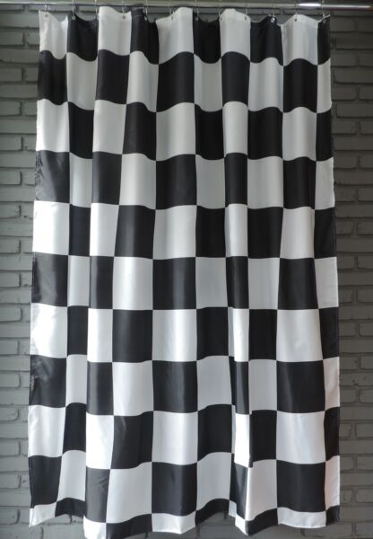 Extra Long Shower Curtain 72 X 78 Inch Gamma Checkered Flag Black And  White. Hover To Zoom