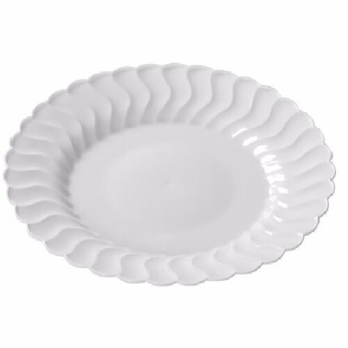 180 9  Weiß Heavy Duty Disposable Plastic Scalloped Design Wedding Plates