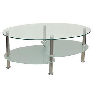Glastisch beistelltisch couchtisch wohnzimmertisch oval esg sicherheitsglas b13 ebay - Wohnzimmertisch oval ...