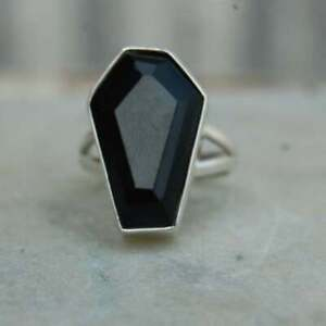 Black Onyx Coffin Ring 925 Sterling Silver Ring Handmade Ring All Size KA-55