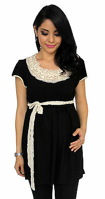 Black Lace  Embroidery Maternity Women's Short Sleeve Top S M L XL