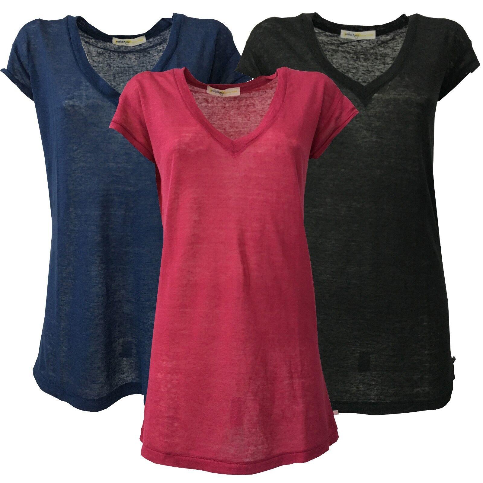 Ottod'AME Maxi-t-shirt Frau V-Ausschnitt tief DM6474 100% Leinen in Ita