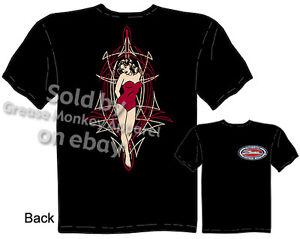 Pinstripe-Girl-T-shirt-Pinup-Girl-Tee-Pinstripe-Hot-Rod-Shirt-Sz-M-L-XL-2XL-3XL