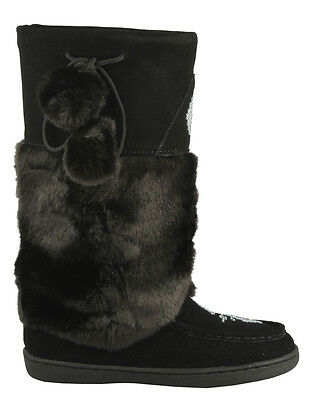 BRAND NEW WOMENS BLACK MUKLUK BOOTS REAL LEATHER SUEDE -  ALL SIZES AVAILABLE