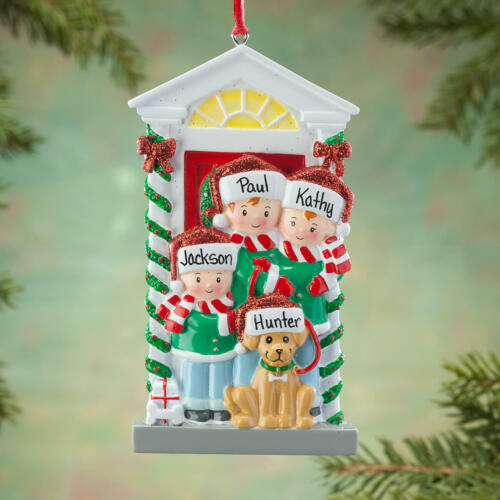 NAME PERSONALIZED Family size 2 3 4 5 6 with Dog Christmas Ornament Gift