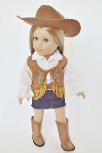 Doll-Clothes-18-034-Western-Skirt-Jean-Top-Vest-Boots-Fit-American-Girl-Dolls