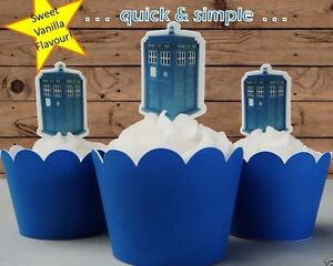 538 Dr Who TARDIS EDIBLE wafer cupcake cake toppers STANDUP