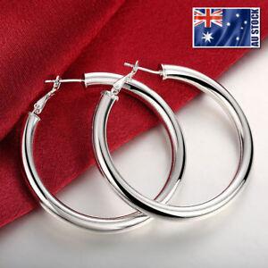 NEW-925-Sterling-Silver-Filled-Women-039-s-Elegant-Round-Hoop-Earrings-Stunning-Gift