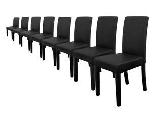 8x-en-casa-Chaises-dossier-haut-salle-a-manger-Noir-Similicuir