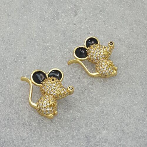 18K Gold Filled Stylish Italian Petite Mouse Diamond 18ct GF Mice Pendant 15mm