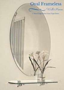bevelled bathroom mirrors oval frameless wall mirror with beveled edge bathroom 12074