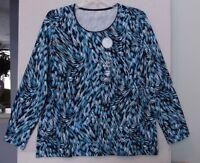 Kim Rogers Size Xxl Feather Print Knit Top, Long Sleeve, Blues, Navy, White