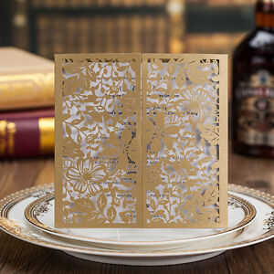 Laser Cut out Floral Design Wedding Invitations Cards With Envelopes and Seals