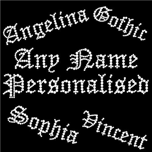 S3 PERSONALISE Your Name Rhinestone Transfer Gothic Old English Diamante Iron on