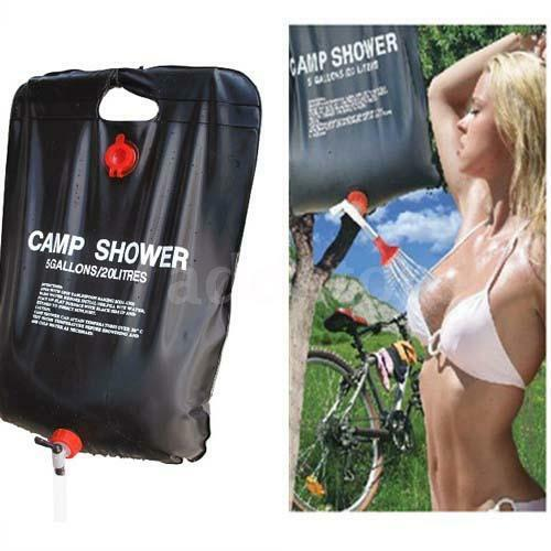 20L Camping Hiking Solar Heated Camp Shower Outdoor Shower Water Bag Portable US