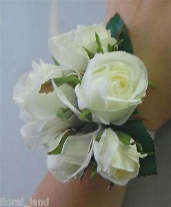 Silk wedding wrist corsage artificial fake flower white cream rose image is loading silk wedding wrist corsage artificial fake flower white mightylinksfo