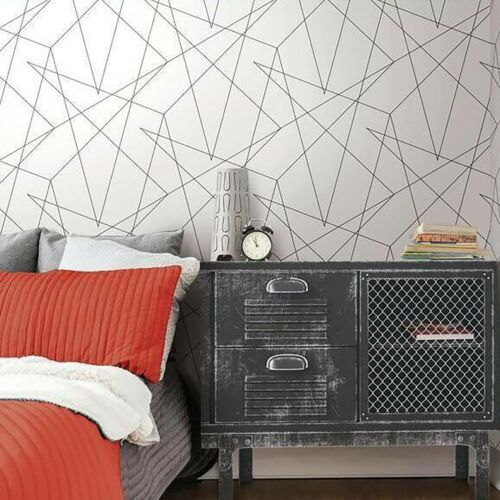 Contemporary Triangle Geometric Lines Wallpaper Black White Modern Wallcoverings