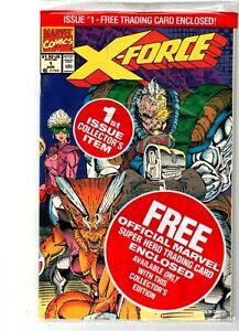 "5X STILL SEALED POLYBAGGED COMIC /& CARD SET /""DEADPOOL CARD/"" NM 1991 X-FORCE #1"