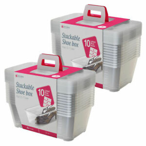 Life Story 2xSHB-10 Shoe and Closet Storage Box Stacking Container - Clear (20 Pack)