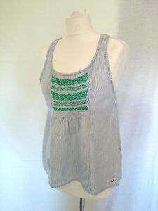 HOLLISTER-TOP-Size-10-Blue-White-Striped-Sleeveless-Summer-0807