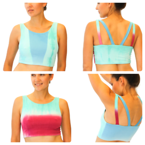 NEW  BAMBOO clothing YOGA BRA REVERSABLE TIE-DYE OMBRE  activewear woman