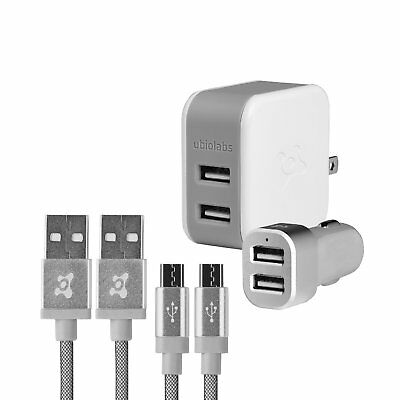 Ubio Labs Dual Wall and Car Charger Kit with 2 6ft Micro USB Woven Cables