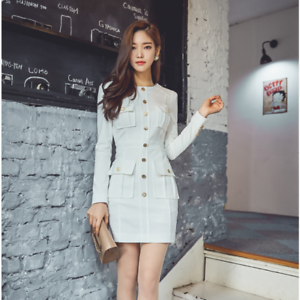 Élégant dress gown short sheath dress white comfortable sleeves slim tight 3287